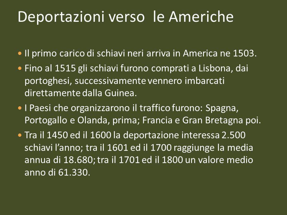 Deportazioni verso le Americhe Il primo carico di schiavi neri arriva in America ne 1503. Fino al 1515 gli schiavi furono comprati a Lisbona, dai port