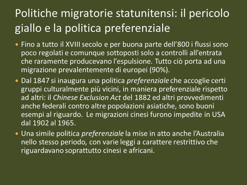 Politiche migratorie statunitensi: il pericolo giallo e la politica preferenziale Fino a tutto il XVIII secolo e per buona parte dell800 i flussi sono