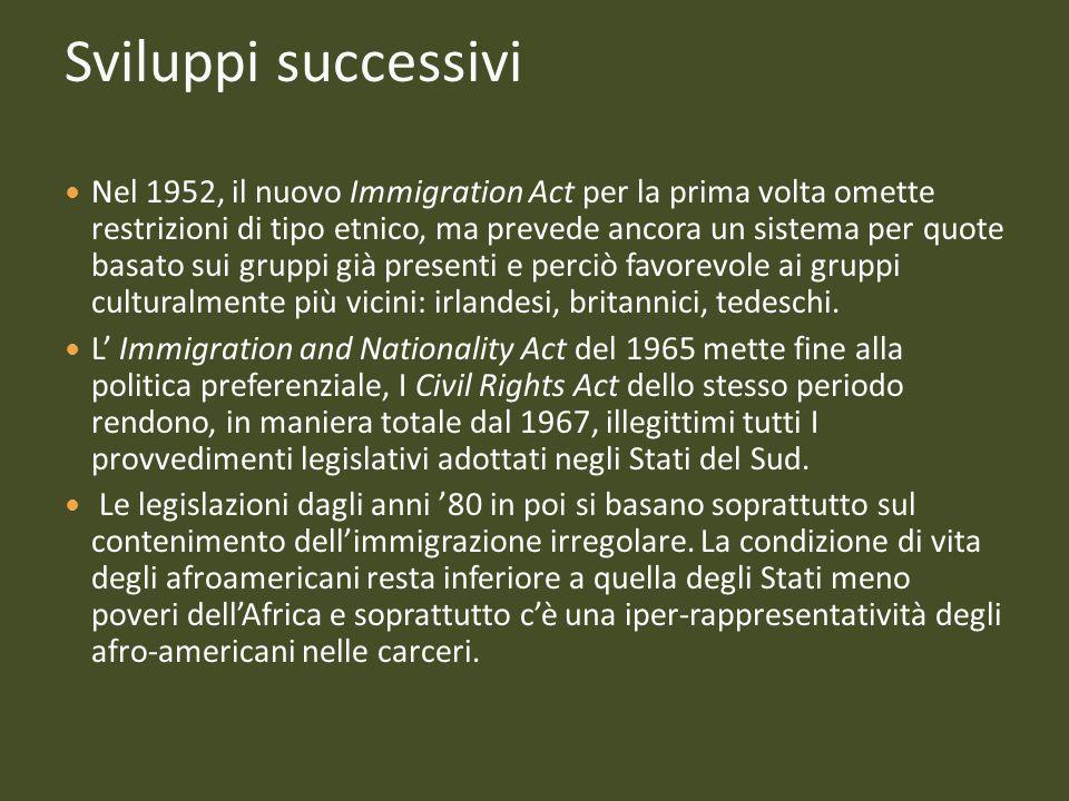 Sviluppi successivi Nel 1952, il nuovo Immigration Act per la prima volta omette restrizioni di tipo etnico, ma prevede ancora un sistema per quote ba