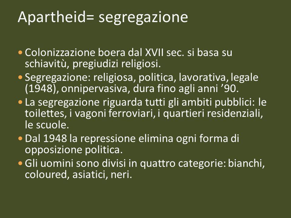 Apartheid= segregazione Colonizzazione boera dal XVII sec. si basa su schiavitù, pregiudizi religiosi. Segregazione: religiosa, politica, lavorativa,