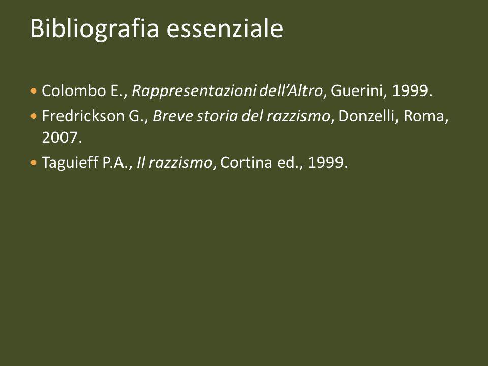 Bibliografia essenziale Colombo E., Rappresentazioni dellAltro, Guerini, 1999. Fredrickson G., Breve storia del razzismo, Donzelli, Roma, 2007. Taguie