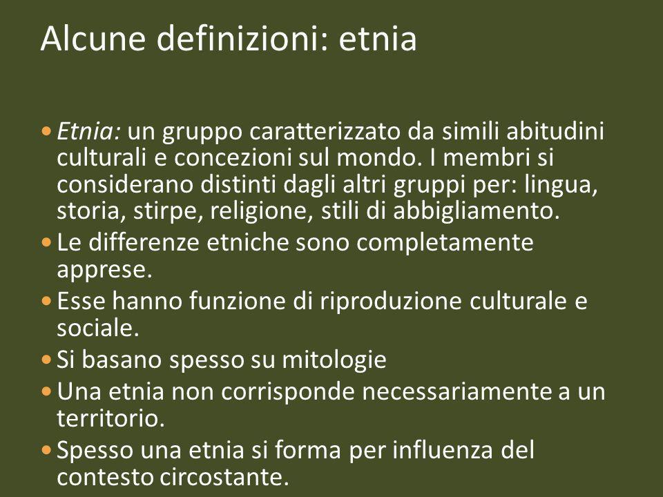 Alcune definizioni: etnia Etnia: un gruppo caratterizzato da simili abitudini culturali e concezioni sul mondo. I membri si considerano distinti dagli