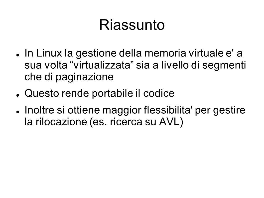 Riassunto In Linux la gestione della memoria virtuale e' a sua volta virtualizzata sia a livello di segmenti che di paginazione Questo rende portabile