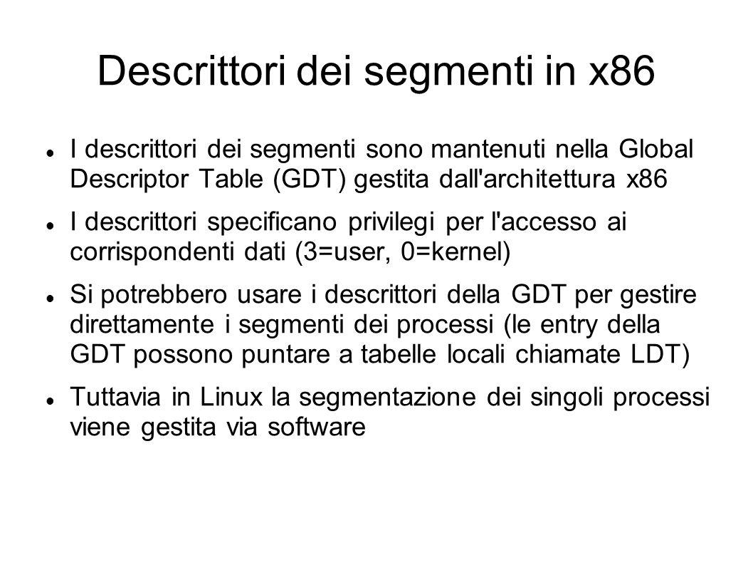 Descrittori dei segmenti in x86 I descrittori dei segmenti sono mantenuti nella Global Descriptor Table (GDT) gestita dall'architettura x86 I descritt