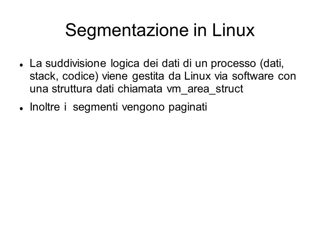 Segmentazione in Linux La suddivisione logica dei dati di un processo (dati, stack, codice) viene gestita da Linux via software con una struttura dati