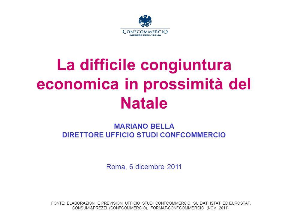 La difficile congiuntura economica in prossimità del Natale MARIANO BELLA DIRETTORE UFFICIO STUDI CONFCOMMERCIO Roma, 6 dicembre 2011 FONTE: ELABORAZIONI E PREVISIONI UFFICIO STUDI CONFCOMMERCIO SU DATI ISTAT ED EUROSTAT, CONSUMI&PREZZI (CONFCOMMERCIO), FORMAT-CONFCOMMERCIO (NOV.