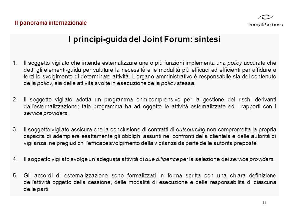 11 I principi-guida del Joint Forum: sintesi 1.Il soggetto vigilato che intende esternalizzare una o più funzioni implementa una policy accurata che d