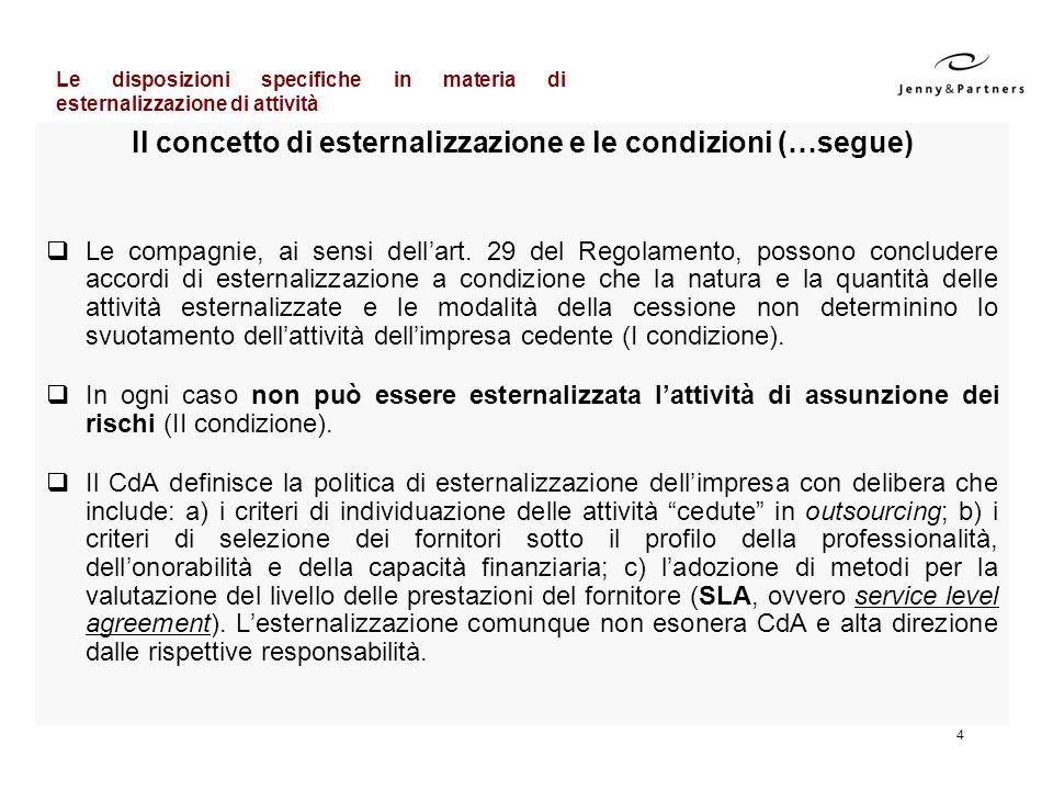 4 Il concetto di esternalizzazione e le condizioni (…segue) Le compagnie, ai sensi dellart. 29 del Regolamento, possono concludere accordi di esternal