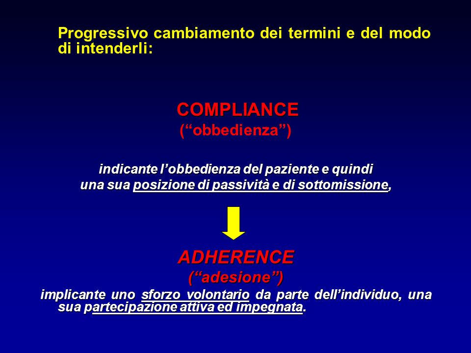Progressivo cambiamento dei termini e del modo di intenderli: COMPLIANCE (obbedienza) indicante lobbedienza del paziente e quindi una sua posizione di