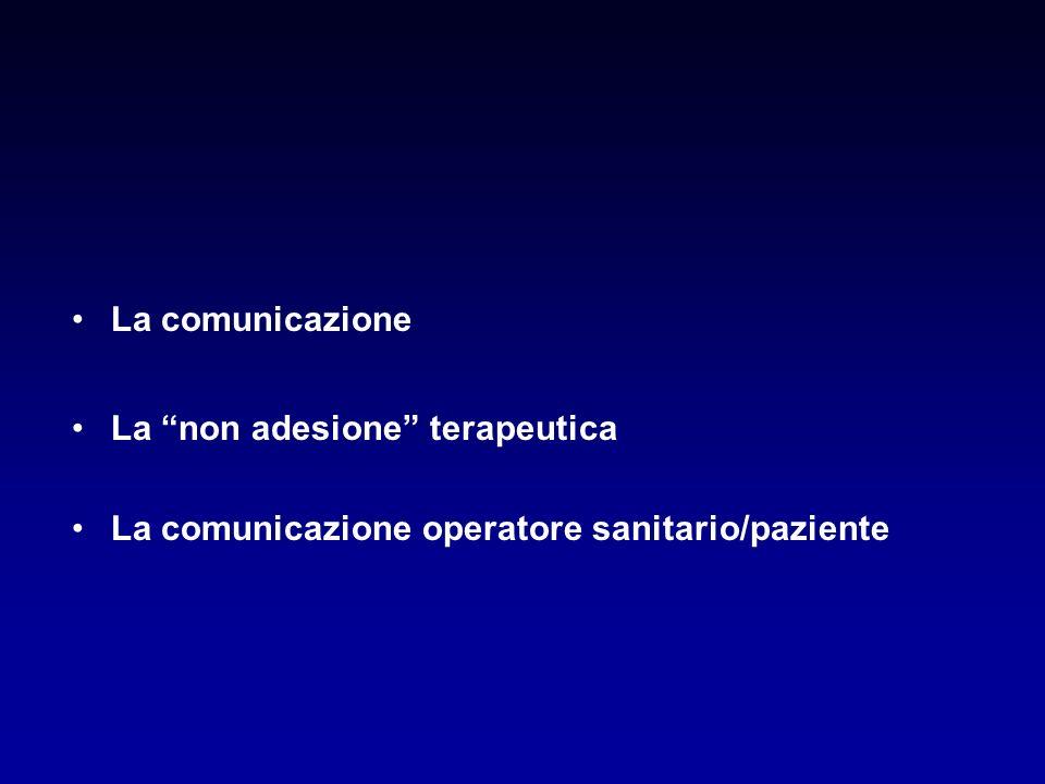 La comunicazione La non adesione terapeutica La comunicazione operatore sanitario/paziente