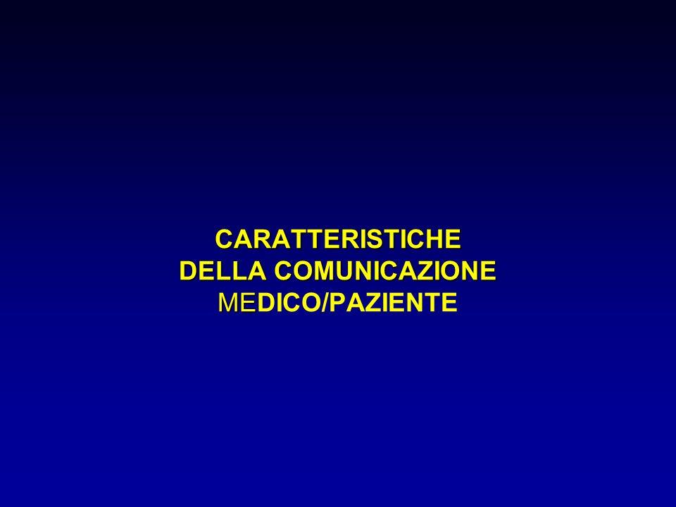 CARATTERISTICHE DELLA COMUNICAZIONE ME CARATTERISTICHE DELLA COMUNICAZIONE MEDICO/PAZIENTE