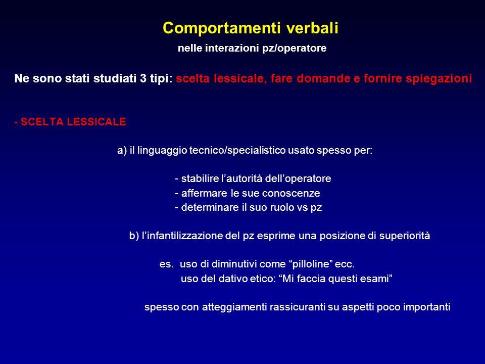 Comportamenti verbali nelle interazioni pz/operatore Ne sono stati studiati 3 tipi: scelta lessicale, fare domande e fornire spiegazioni - SCELTA LESS