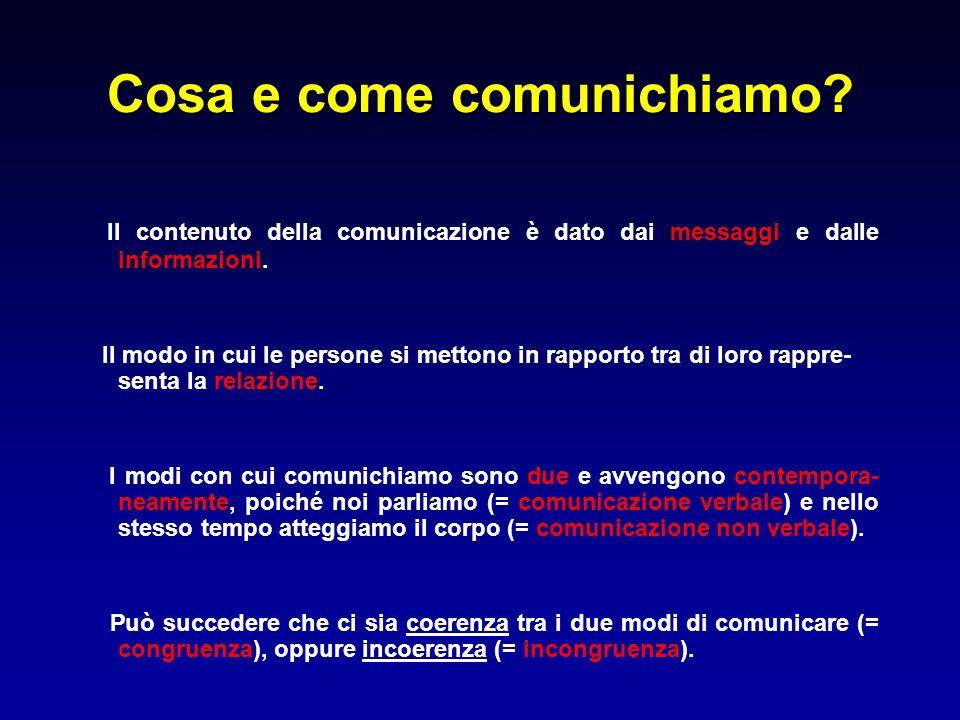 Cosa e come comunichiamo? Il contenuto della comunicazione è dato dai messaggi e dalle informazioni. Il modo in cui le persone si mettono in rapporto