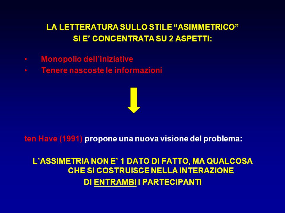 LA LETTERATURA SULLO STILE ASIMMETRICO SI E CONCENTRATA SU 2 ASPETTI: Monopolio delliniziative Tenere nascoste le informazioni ten Have (1991) propone