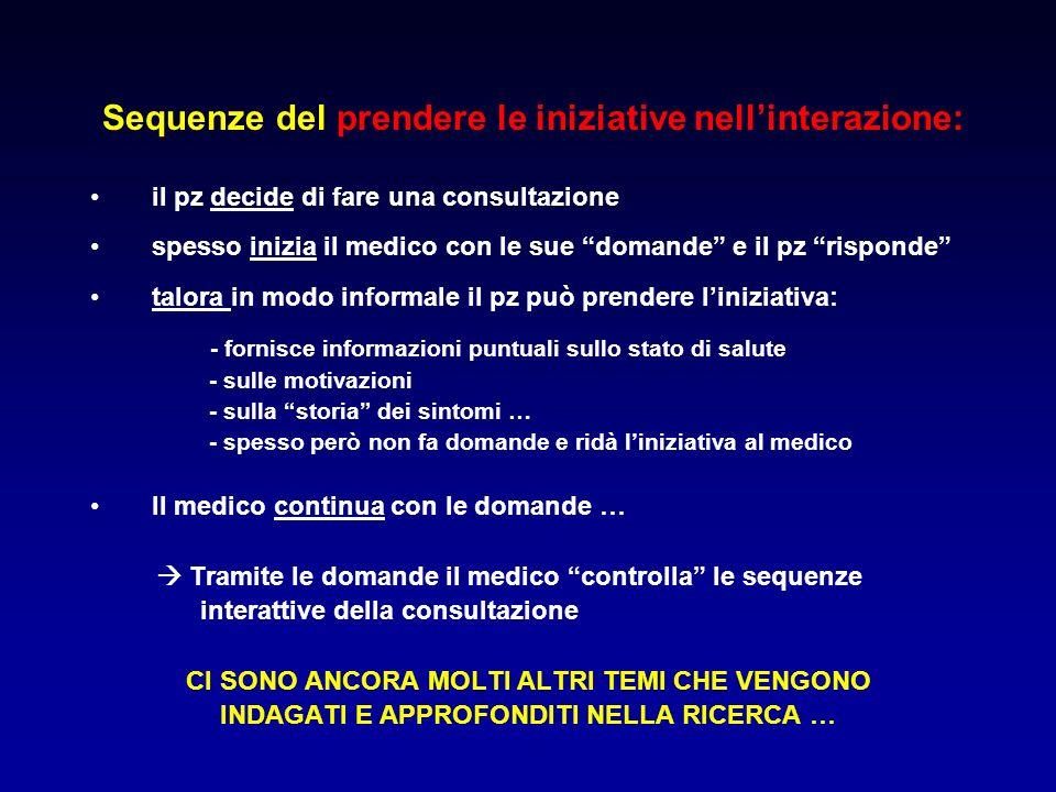 Sequenze del prendere le iniziative nellinterazione: il pz decide di fare una consultazione spesso inizia il medico con le sue domande e il pz rispond