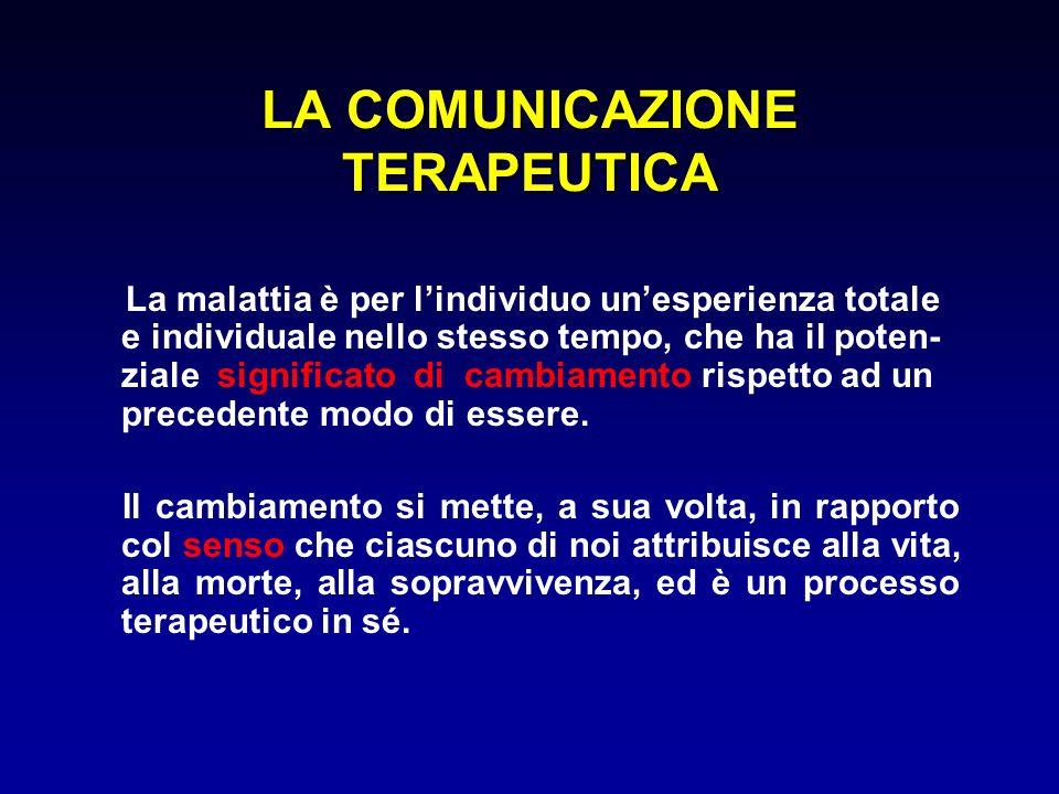 LA COMUNICAZIONE TERAPEUTICA La malattia è per lindividuo unesperienza totale e individuale nello stesso tempo, che ha il poten- ziale significato di