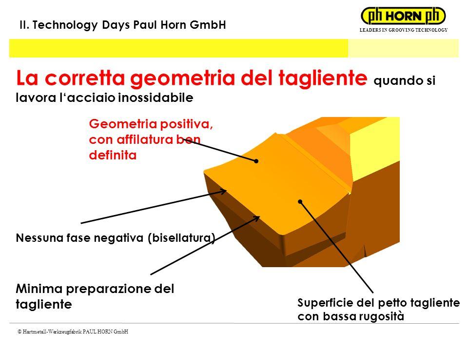 LEADERS IN GROOVING TECHNOLOGY © Hartmetall-Werkzeugfabrik PAUL HORN GmbH La corretta geometria del tagliente quando si lavora lacciaio inossidabile G