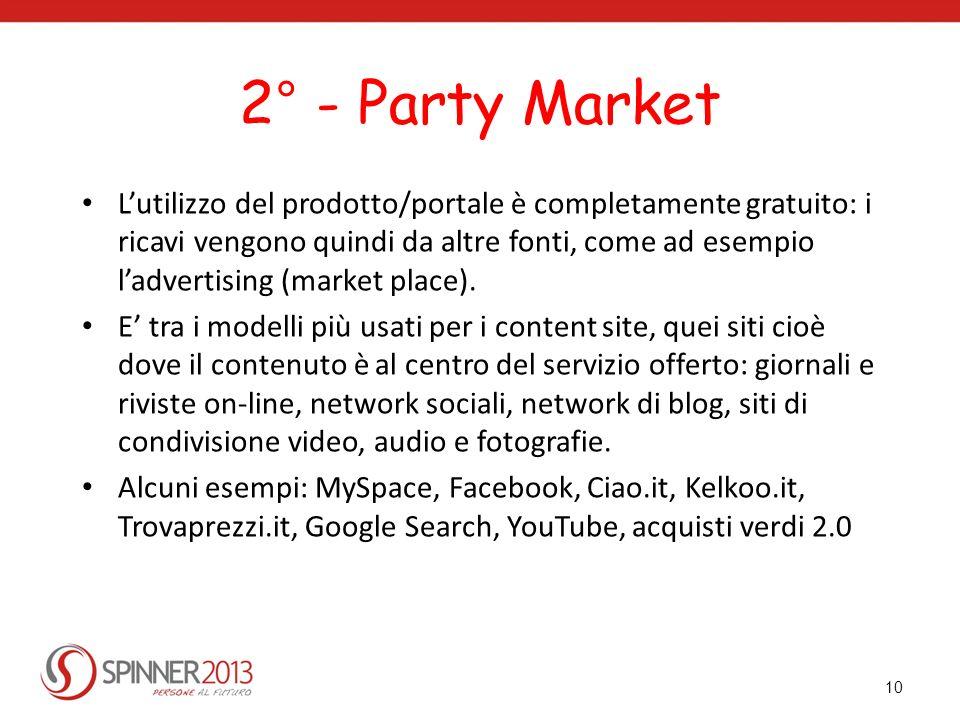 2° - Party Market Lutilizzo del prodotto/portale è completamente gratuito: i ricavi vengono quindi da altre fonti, come ad esempio ladvertising (marke