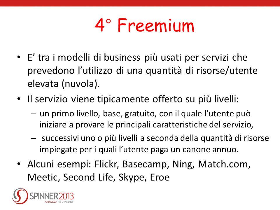 4° Freemium E tra i modelli di business più usati per servizi che prevedono lutilizzo di una quantità di risorse/utente elevata (nuvola). Il servizio