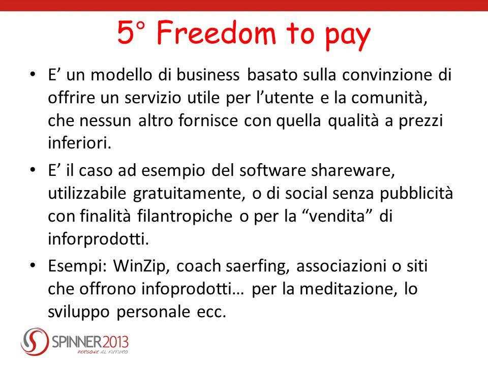 5° Freedom to pay E un modello di business basato sulla convinzione di offrire un servizio utile per lutente e la comunità, che nessun altro fornisce