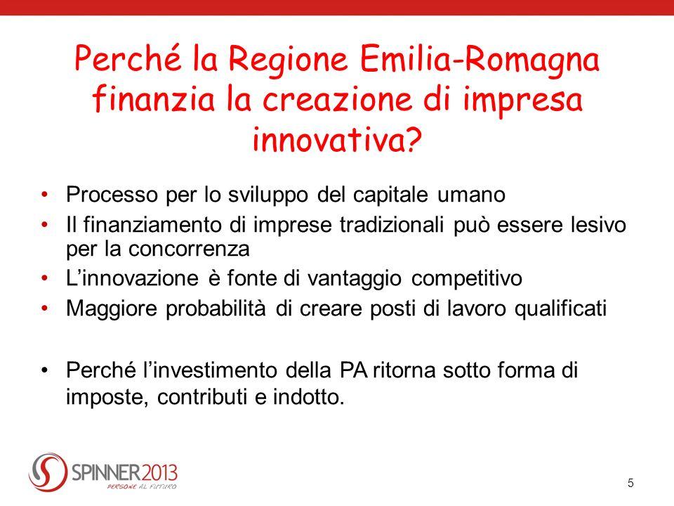 Perché la Regione Emilia-Romagna finanzia la creazione di impresa innovativa? Processo per lo sviluppo del capitale umano Il finanziamento di imprese