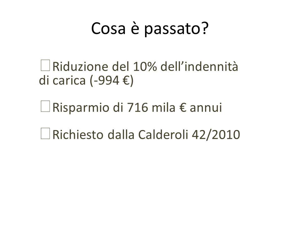 Cosa è passato? Riduzione del 10% dellindennità di carica (-994 ) Risparmio di 716 mila annui Richiesto dalla Calderoli 42/2010