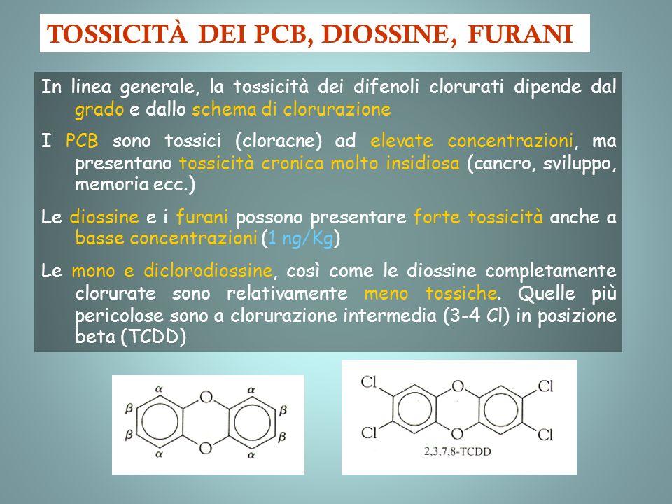 In linea generale, la tossicità dei difenoli clorurati dipende dal grado e dallo schema di clorurazione I PCB sono tossici (cloracne) ad elevate conce