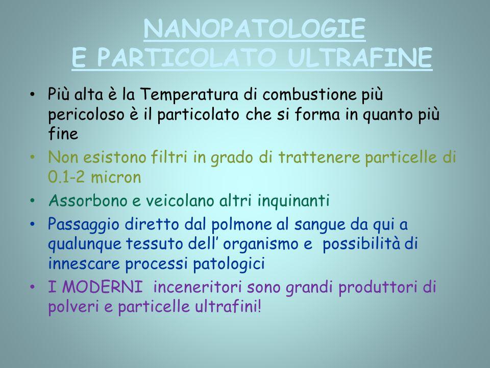 NANOPATOLOGIE E PARTICOLATO ULTRAFINE Più alta è la Temperatura di combustione più pericoloso è il particolato che si forma in quanto più fine Non esi