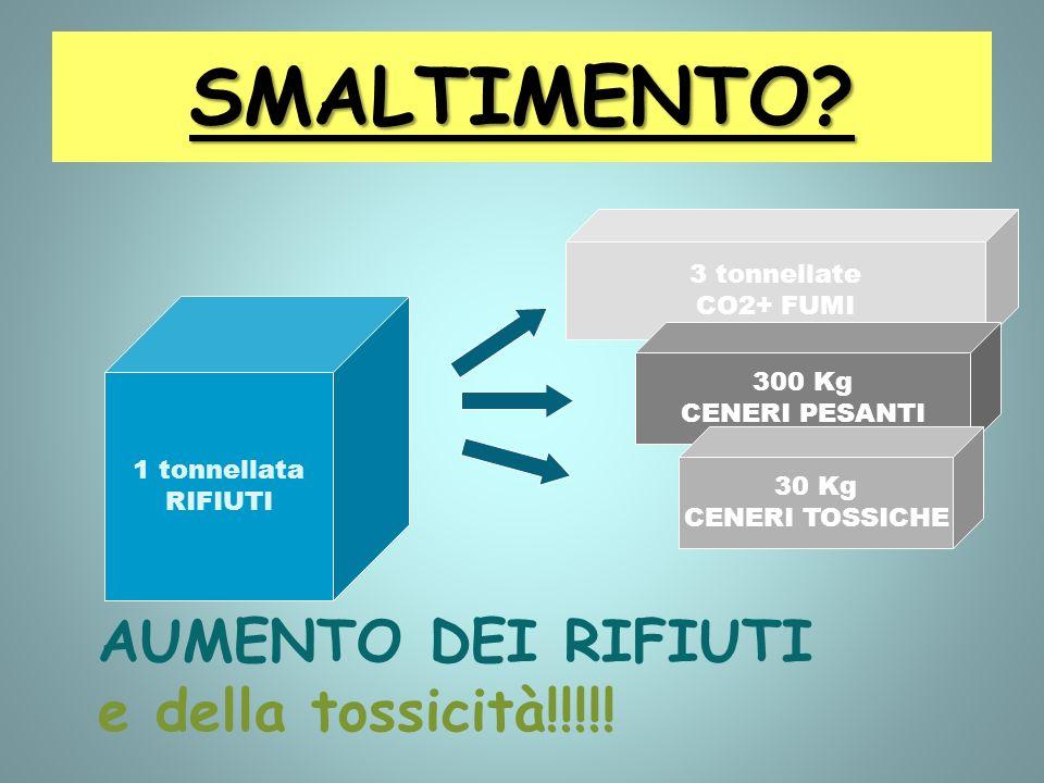 SMALTIMENTO? 1 tonnellata RIFIUTI 3 tonnellate CO2+ FUMI 300 Kg CENERI PESANTI 30 Kg CENERI TOSSICHE AUMENTO DEI RIFIUTI e della tossicità!!!!!