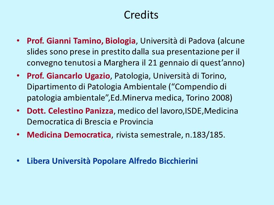 Credits Prof. Gianni Tamino, Biologia, Università di Padova (alcune slides sono prese in prestito dalla sua presentazione per il convegno tenutosi a M