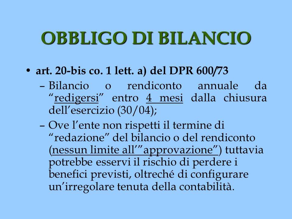 OBBLIGO DI BILANCIO art. 20-bis co. 1 lett. a) del DPR 600/73 –Bilancio o rendiconto annuale daredigersi entro 4 mesi dalla chiusura dellesercizio (30