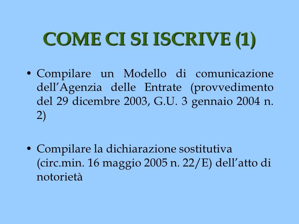 COME CI SI ISCRIVE (1) Compilare un Modello di comunicazione dellAgenzia delle Entrate (provvedimento del 29 dicembre 2003, G.U. 3 gennaio 2004 n. 2)