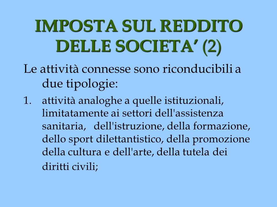 IMPOSTA SUL REDDITO DELLE SOCIETA (2) Le attività connesse sono riconducibili a due tipologie: 1.attività analoghe a quelle istituzionali, limitatamen