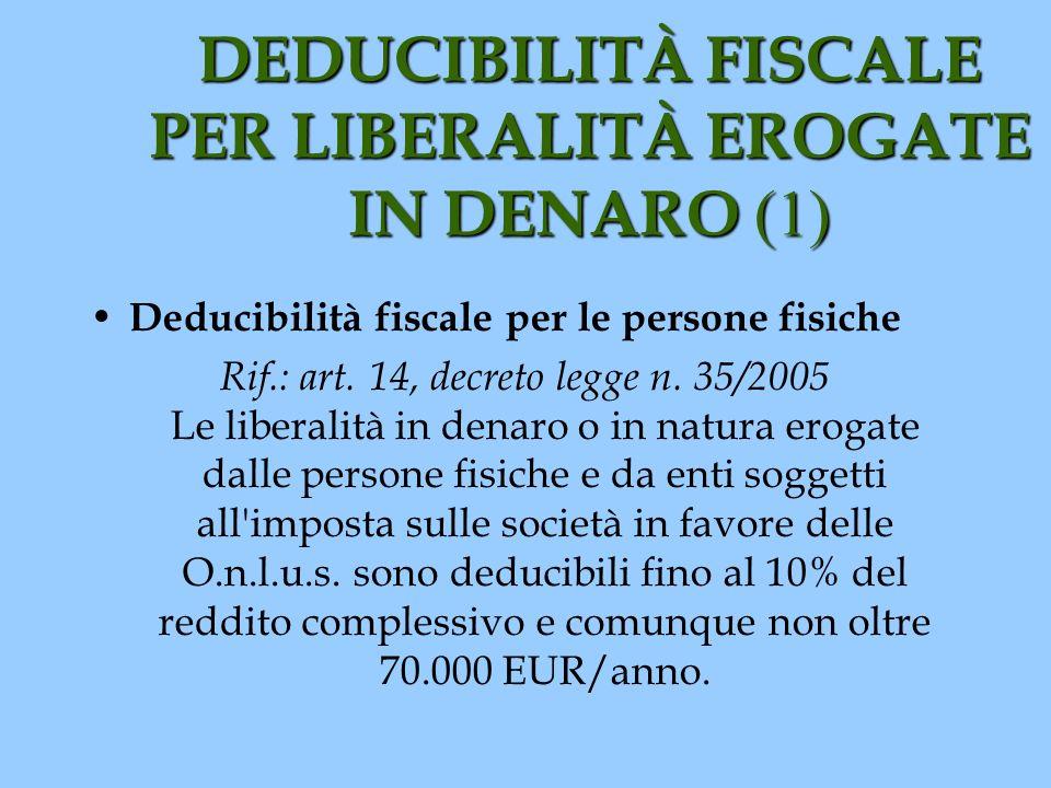DEDUCIBILITÀ FISCALE PER LIBERALITÀ EROGATE IN DENARO (1) Deducibilità fiscale per le persone fisiche Rif.: art. 14, decreto legge n. 35/2005 Le liber