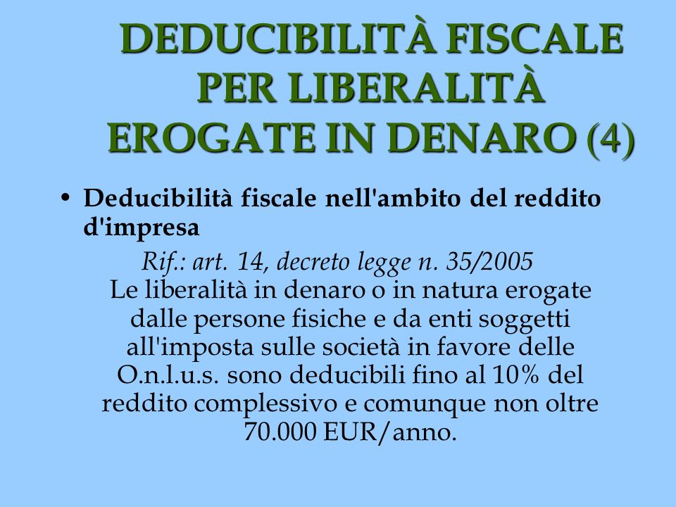 DEDUCIBILITÀ FISCALE PER LIBERALITÀ EROGATE IN DENARO (4) Deducibilità fiscale nell'ambito del reddito d'impresa Rif.: art. 14, decreto legge n. 35/20