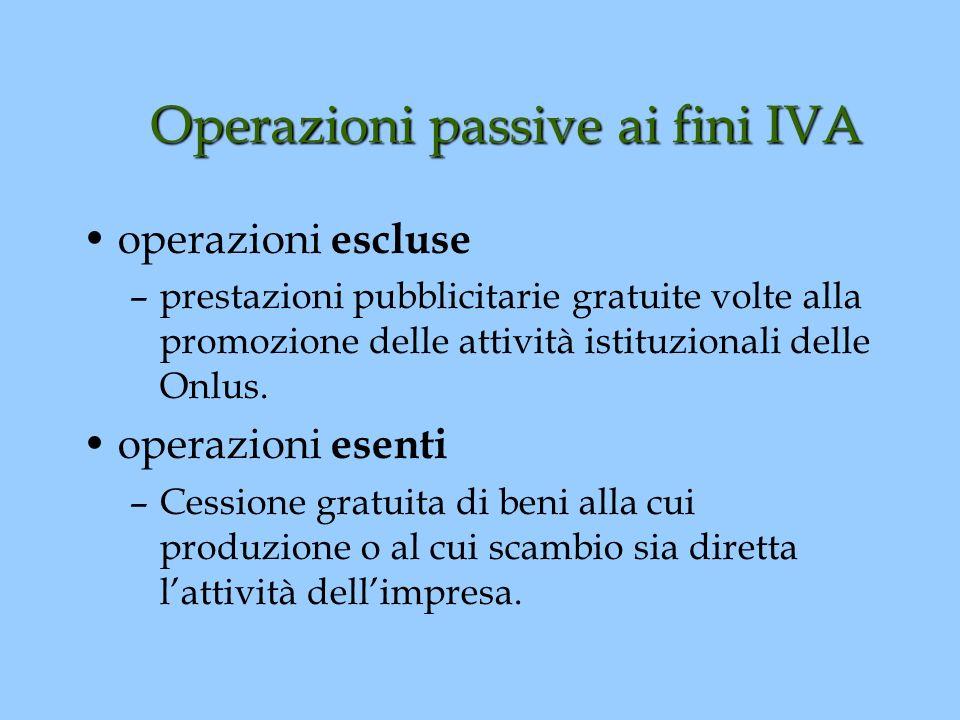 Operazioni passive ai fini IVA operazioni escluse –prestazioni pubblicitarie gratuite volte alla promozione delle attività istituzionali delle Onlus.