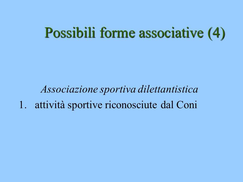 Possibili forme associative (4) Associazione sportiva dilettantistica 1.attività sportive riconosciute dal Coni