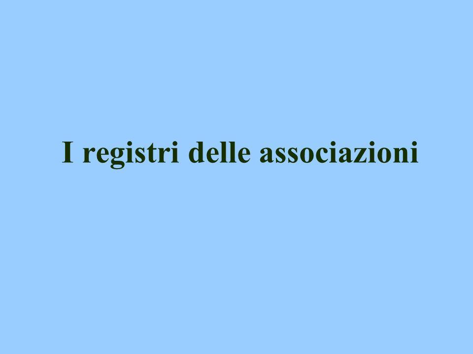 I registri delle associazioni