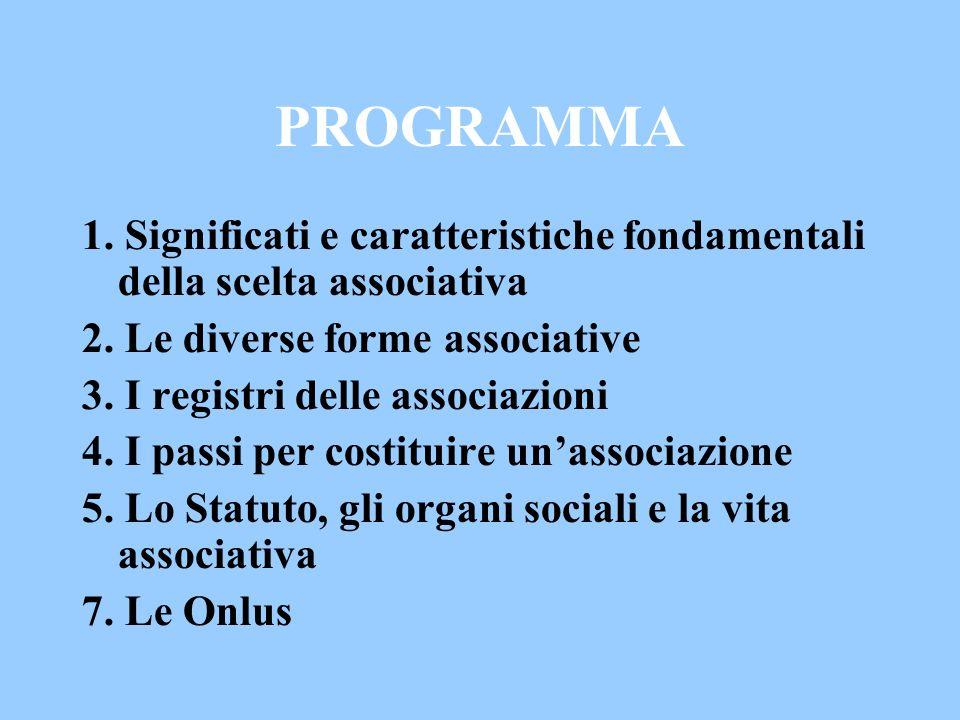 PROGRAMMA 1. Significati e caratteristiche fondamentali della scelta associativa 2. Le diverse forme associative 3. I registri delle associazioni 4. I
