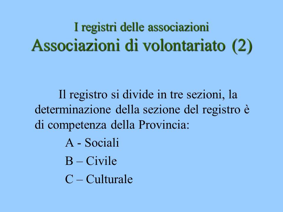 I registri delle associazioni Associazioni di volontariato(2) I registri delle associazioni Associazioni di volontariato (2) Il registro si divide in