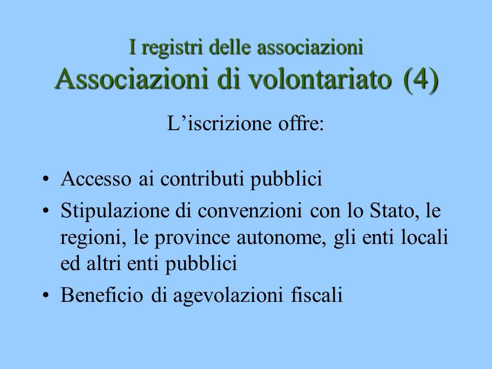I registri delle associazioni Associazioni di volontariato(4) I registri delle associazioni Associazioni di volontariato (4) Liscrizione offre: Access