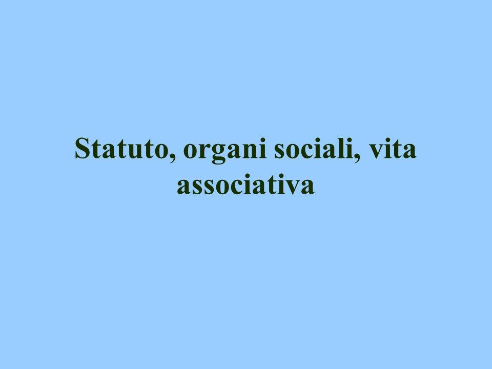 Statuto, organi sociali, vita associativa
