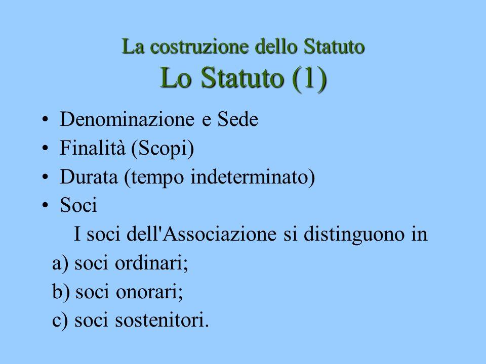 La costruzione dello Statuto Lo Statuto (1) Denominazione e Sede Finalità (Scopi) Durata (tempo indeterminato) Soci I soci dell'Associazione si distin