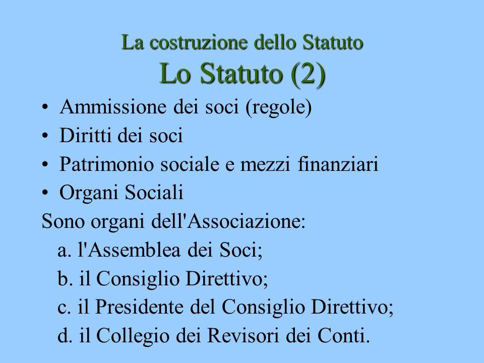La costruzione dello Statuto Lo Statuto (2) Ammissione dei soci (regole) Diritti dei soci Patrimonio sociale e mezzi finanziari Organi Sociali Sono or