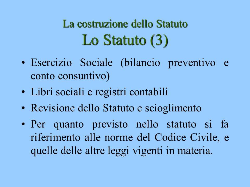 La costruzione dello Statuto Lo Statuto (3) Esercizio Sociale (bilancio preventivo e conto consuntivo) Libri sociali e registri contabili Revisione de