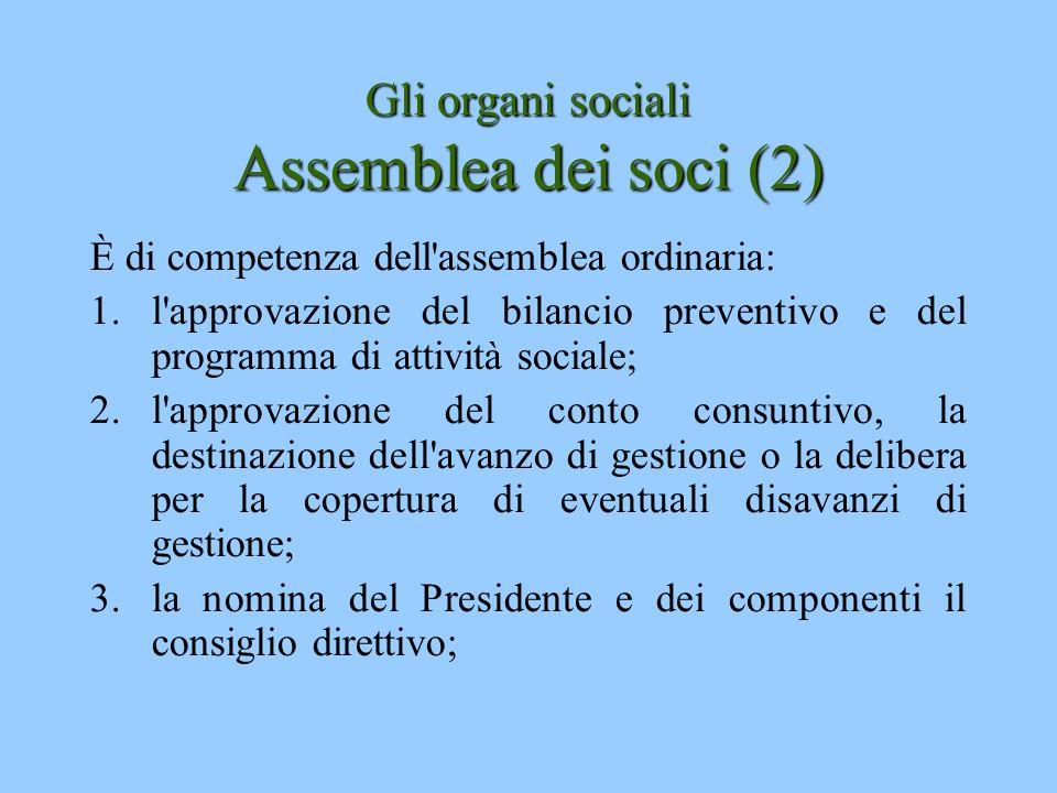 Gli organi sociali Assemblea dei soci (2) È di competenza dell'assemblea ordinaria: 1.l'approvazione del bilancio preventivo e del programma di attivi