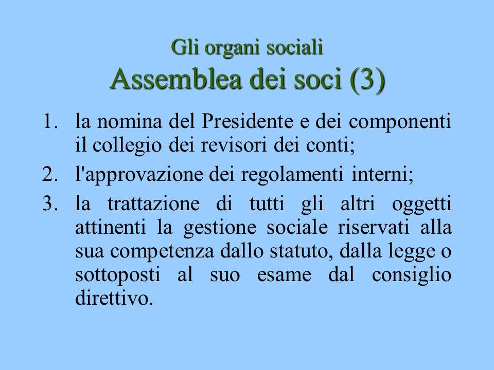 Gli organi sociali Assemblea dei soci (3) 1.la nomina del Presidente e dei componenti il collegio dei revisori dei conti; 2.l'approvazione dei regolam