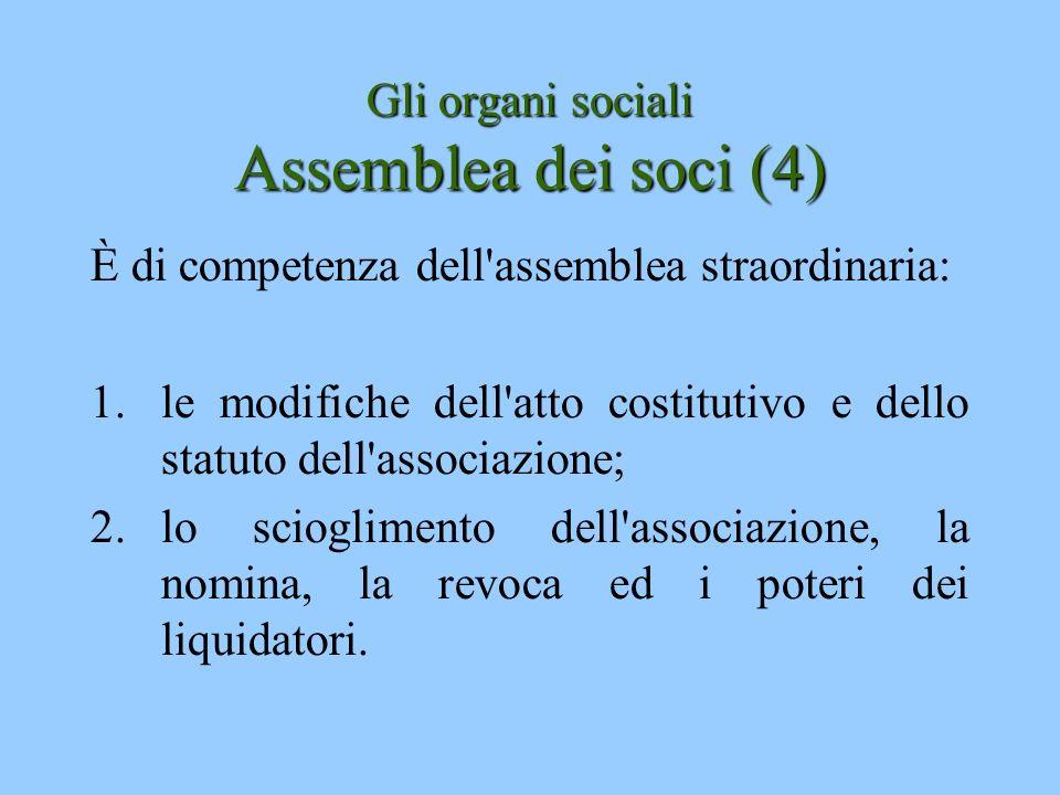 Gli organi sociali Assemblea dei soci (4) È di competenza dell'assemblea straordinaria: 1.le modifiche dell'atto costitutivo e dello statuto dell'asso