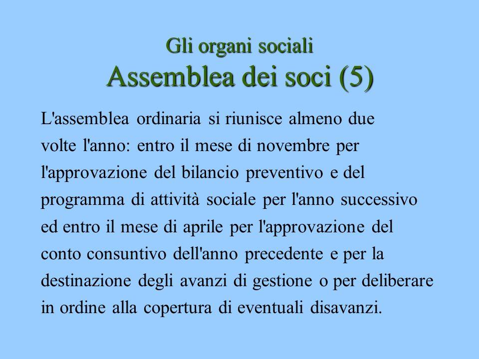 Gli organi sociali Assemblea dei soci (5) L'assemblea ordinaria si riunisce almeno due volte l'anno: entro il mese di novembre per l'approvazione del