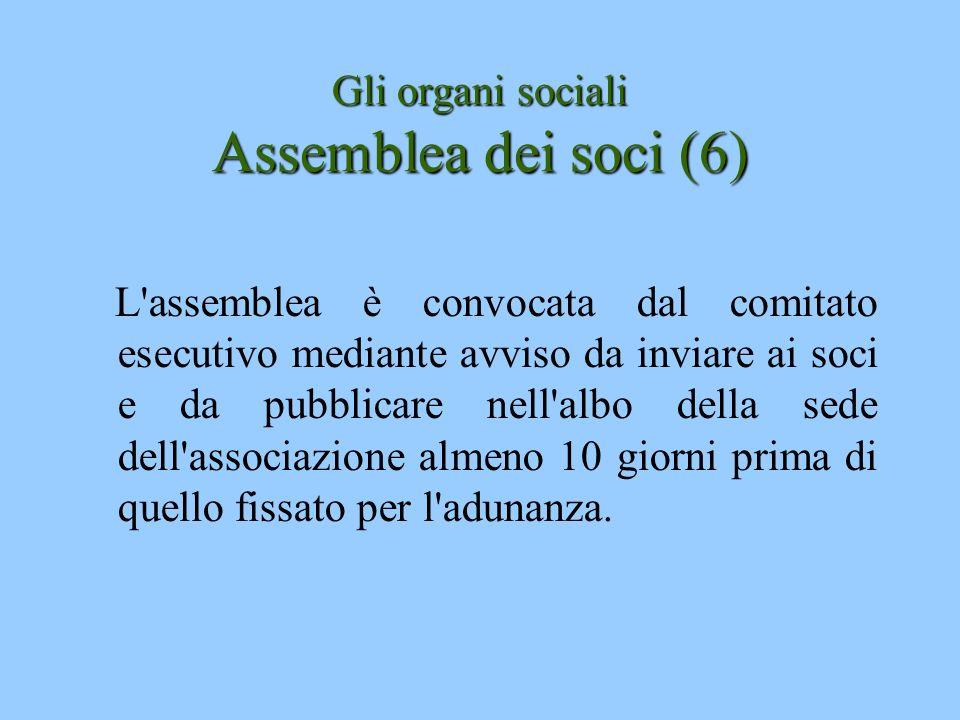 Gli organi sociali Assemblea dei soci (6) L'assemblea è convocata dal comitato esecutivo mediante avviso da inviare ai soci e da pubblicare nell'albo
